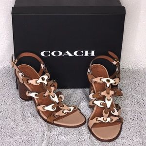 COACH Leather Saddle Chalk Beechwood Slingbacks